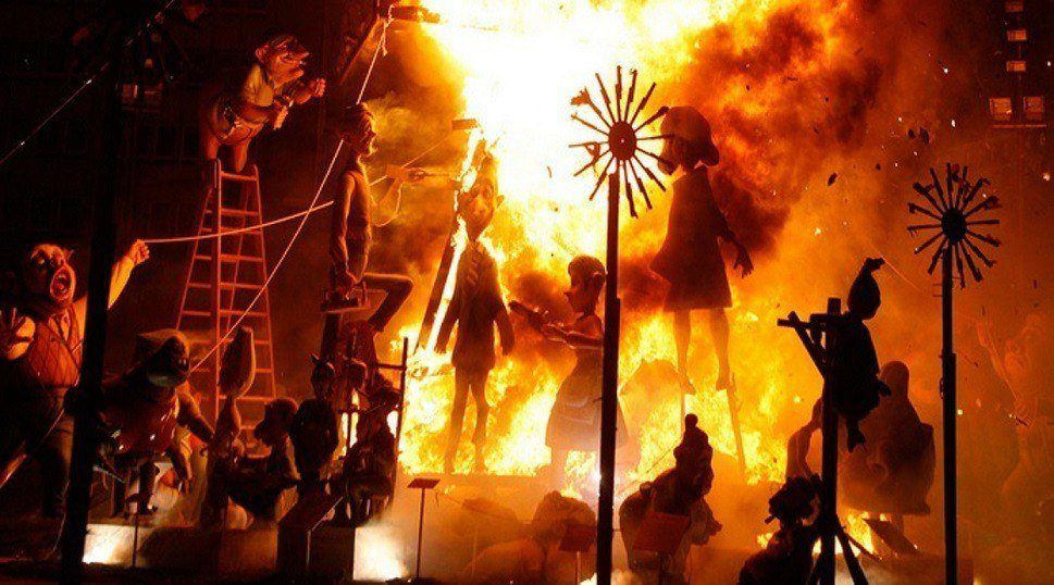 the fallas are set ablaze at Las Fallas in Spain