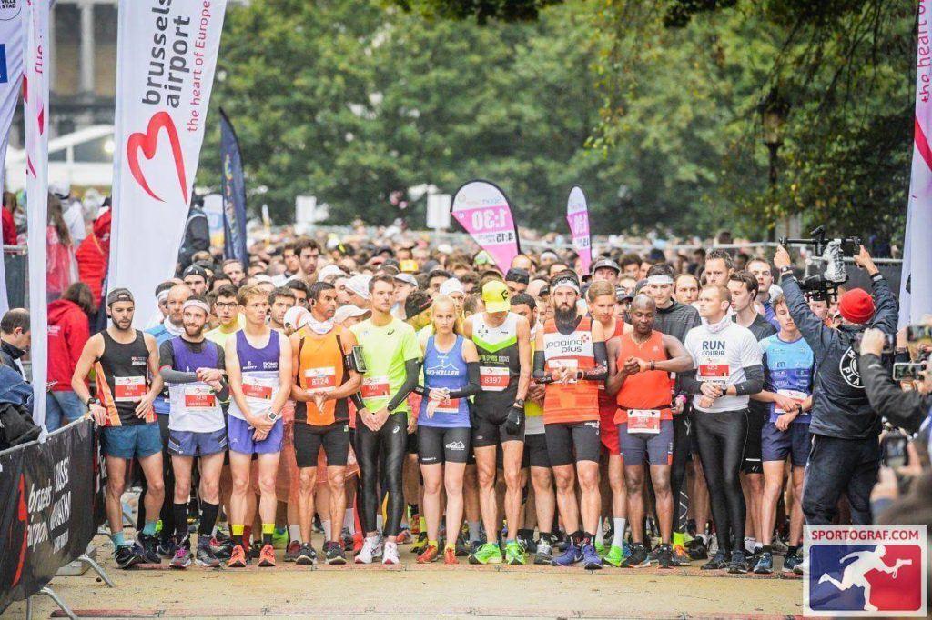 Start line of Brussels Marathon