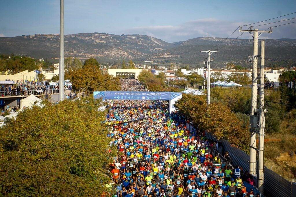 The scenery of Athens Marathon