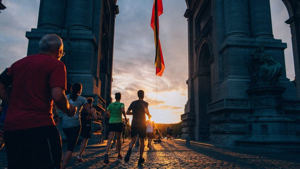 Run into the sunset in Brussels