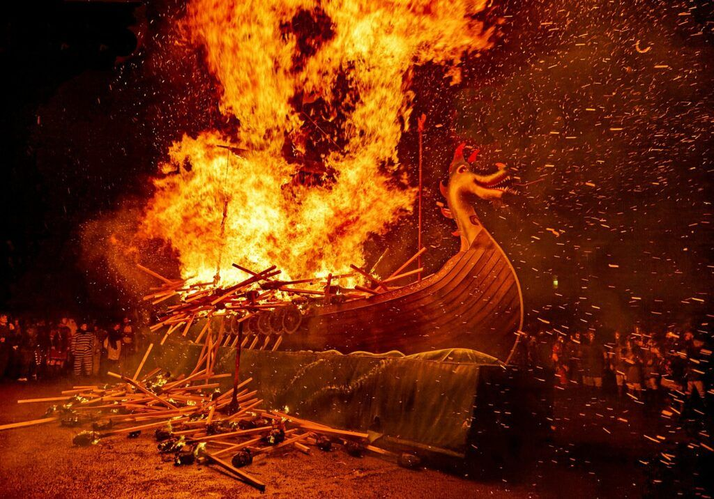 burning of the boat at Up Helly Aa