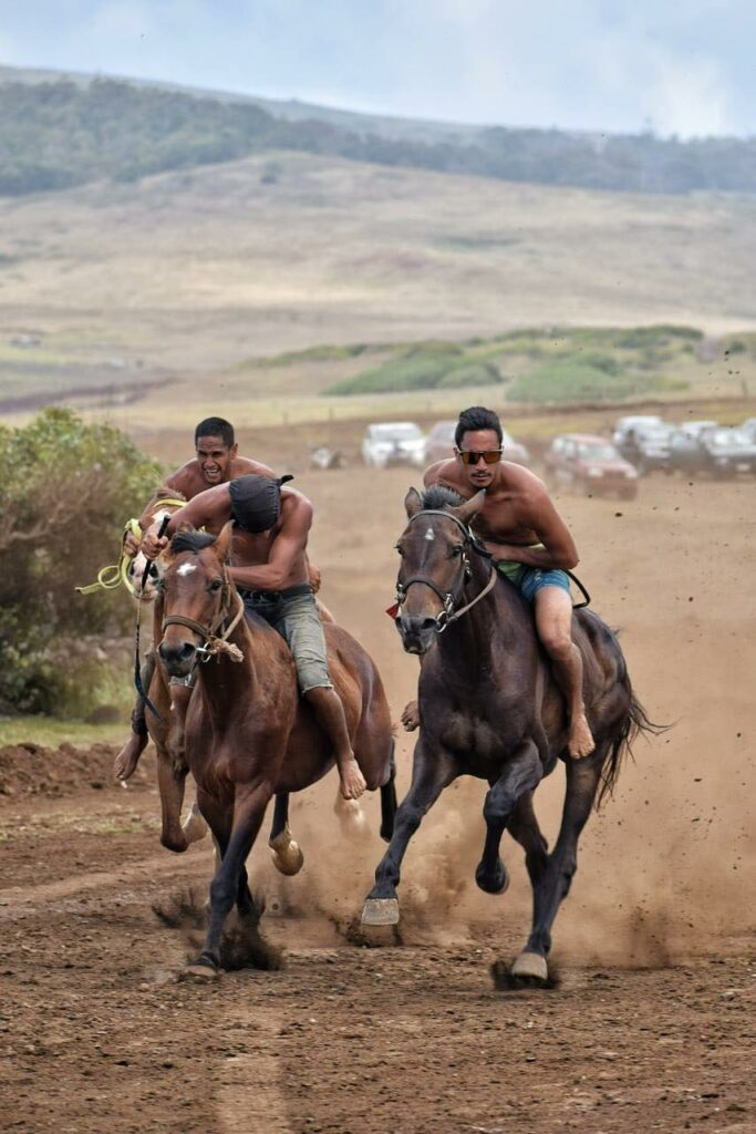 horse riding on Easter Island