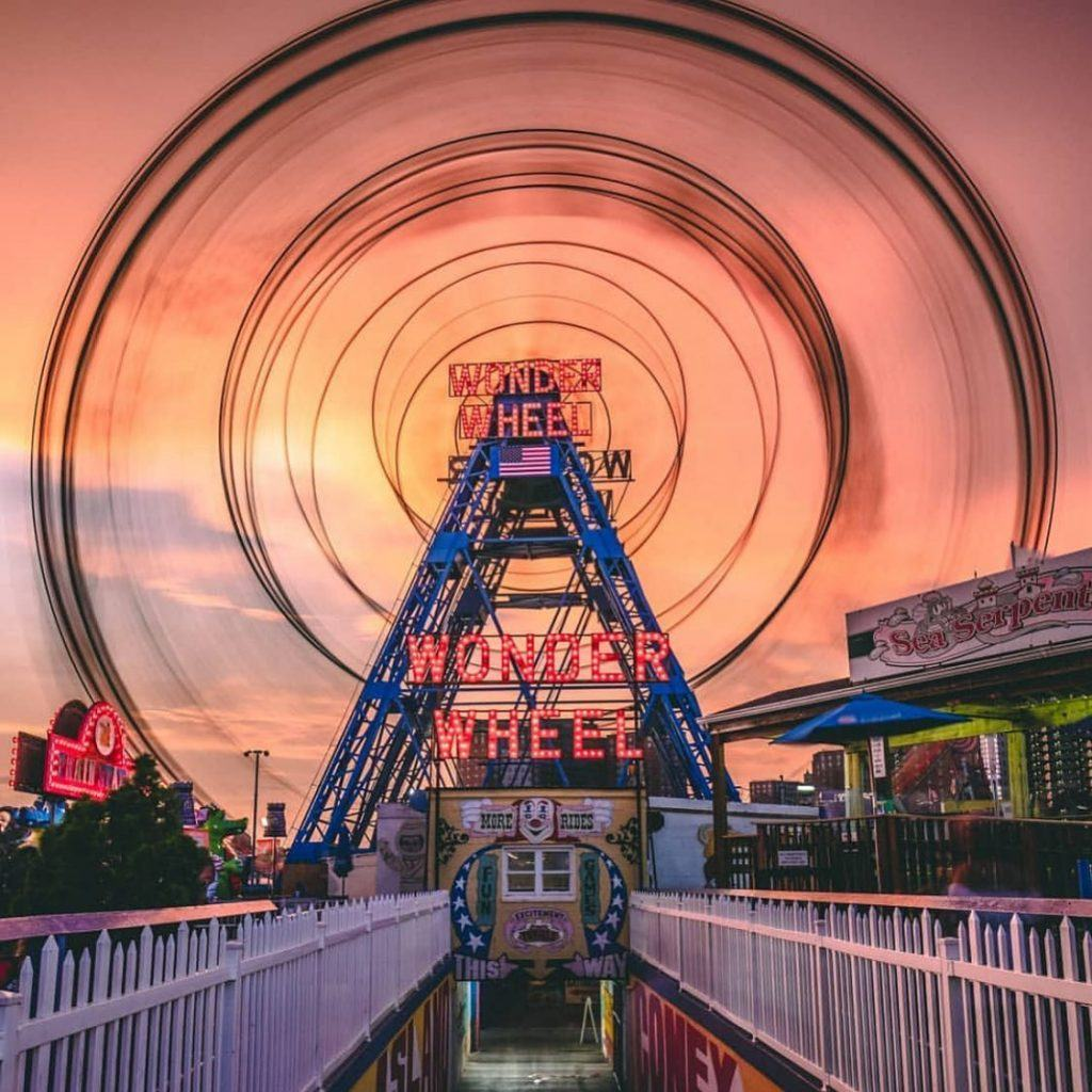 Beautiful sunset at Luna Park on Coney Island