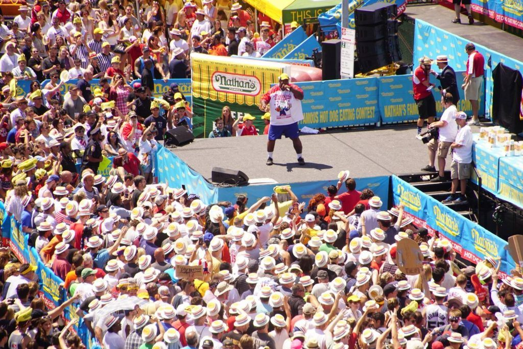Wear Beach attire at Nathan's Hot Dog Eating Contest