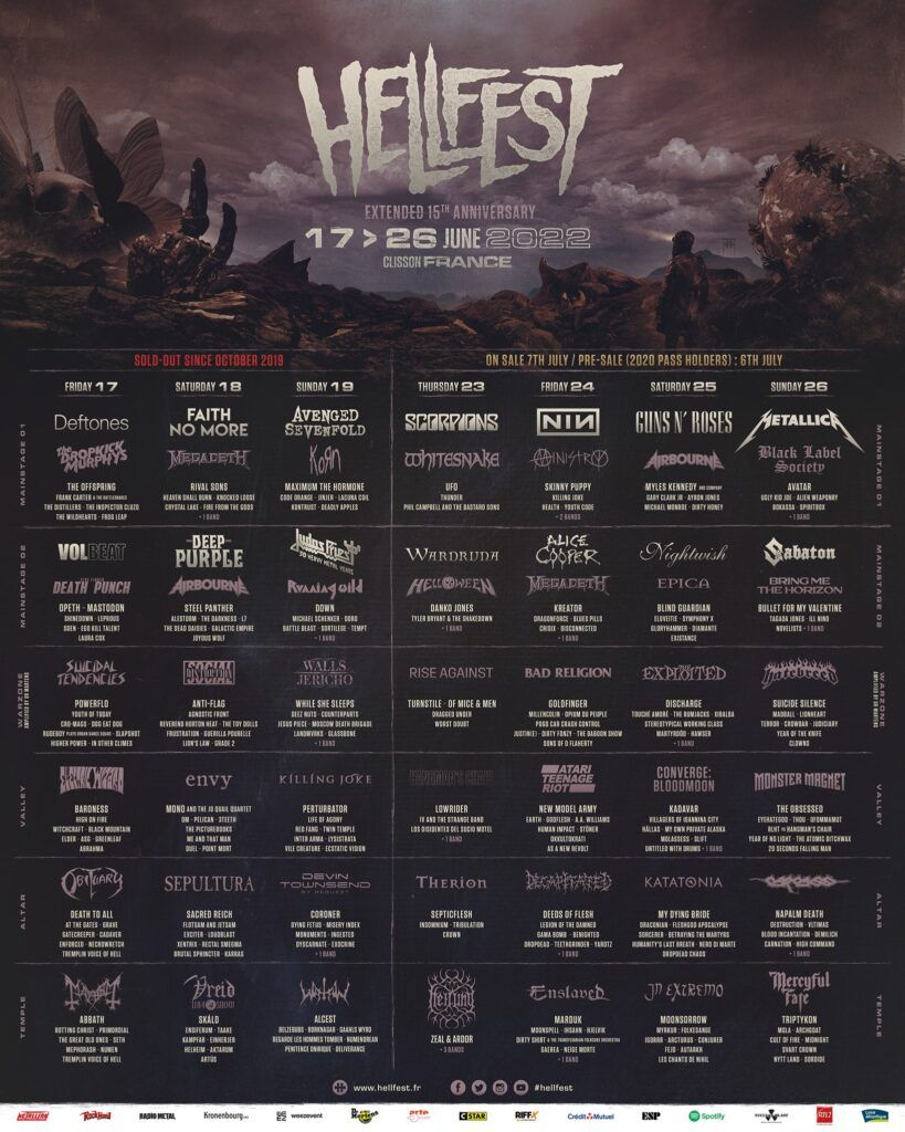 Hellfest 2022 lineup metallica, guns n roses