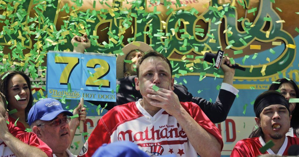 Confetti for the winner of Nathan's Hot Dog Eating contest