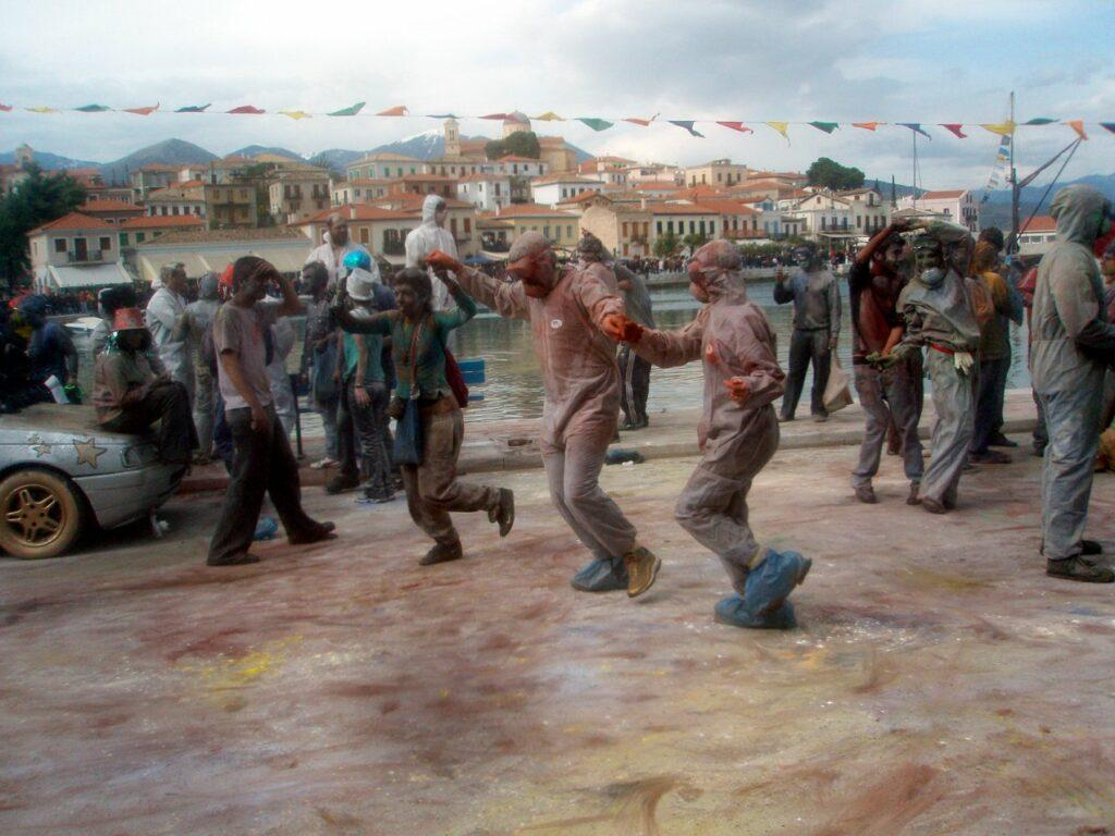 all day street dancing in Galaxidi