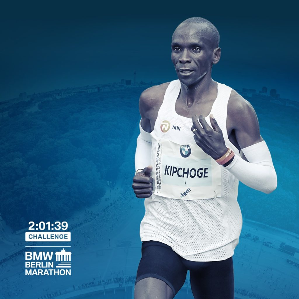 Eliud Kipchoges finish at the BMW BERLIN-MARATHON 2018. His finish time was a new world record by running 2:01:39