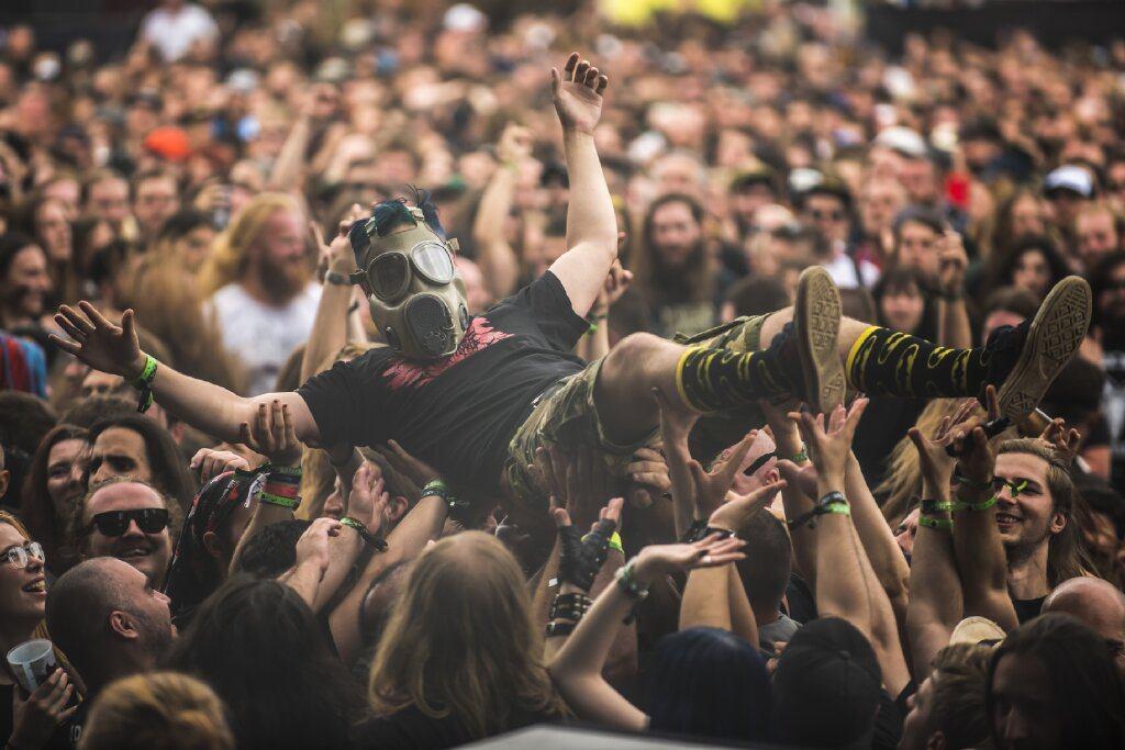 crowd surfing at Brutal Assault