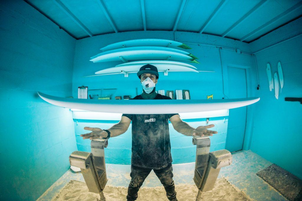 Nuno Matta in his shaping bay Surfboard Shapers in Portugal