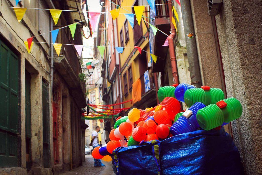 decorated streets in Porto