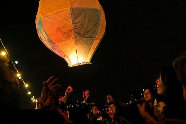lighting of lanterns at night