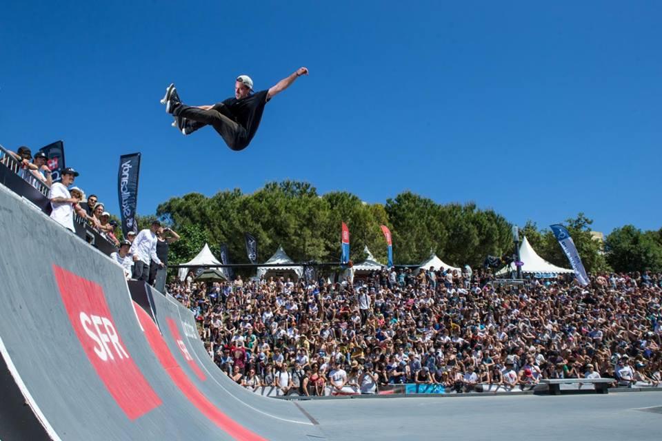 Fise World Skateboarder on Vert ramp in Montpellier, France