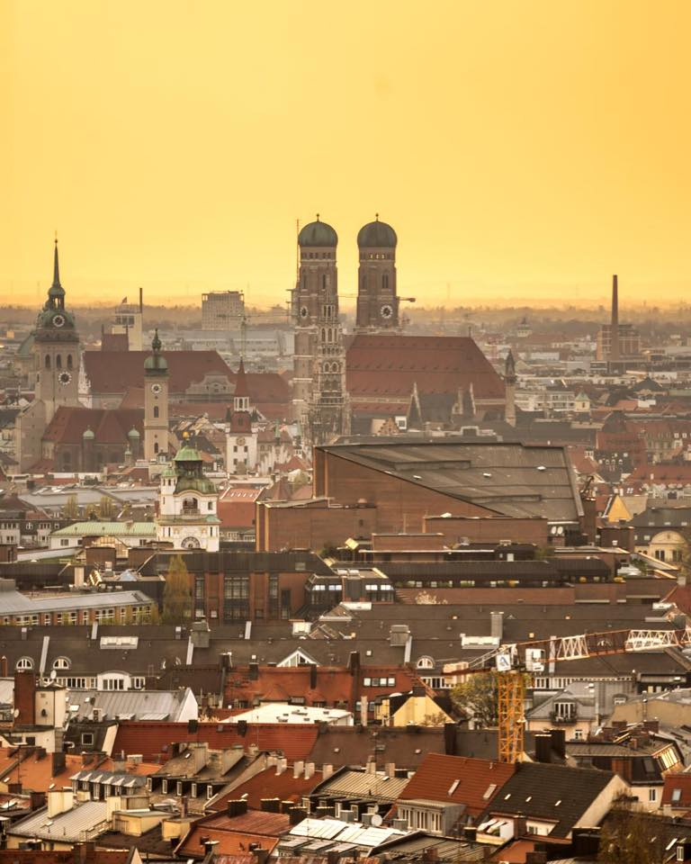 view over Munich city at sunset