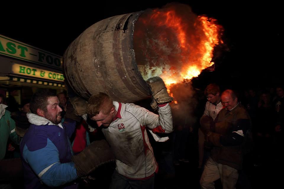 carrying a burning barrel at Ottery Tar Barrels