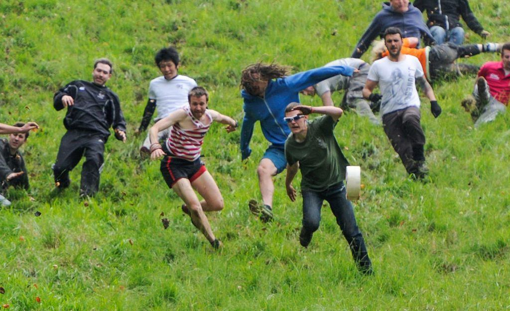 Cheese rolling in coopers hill UK