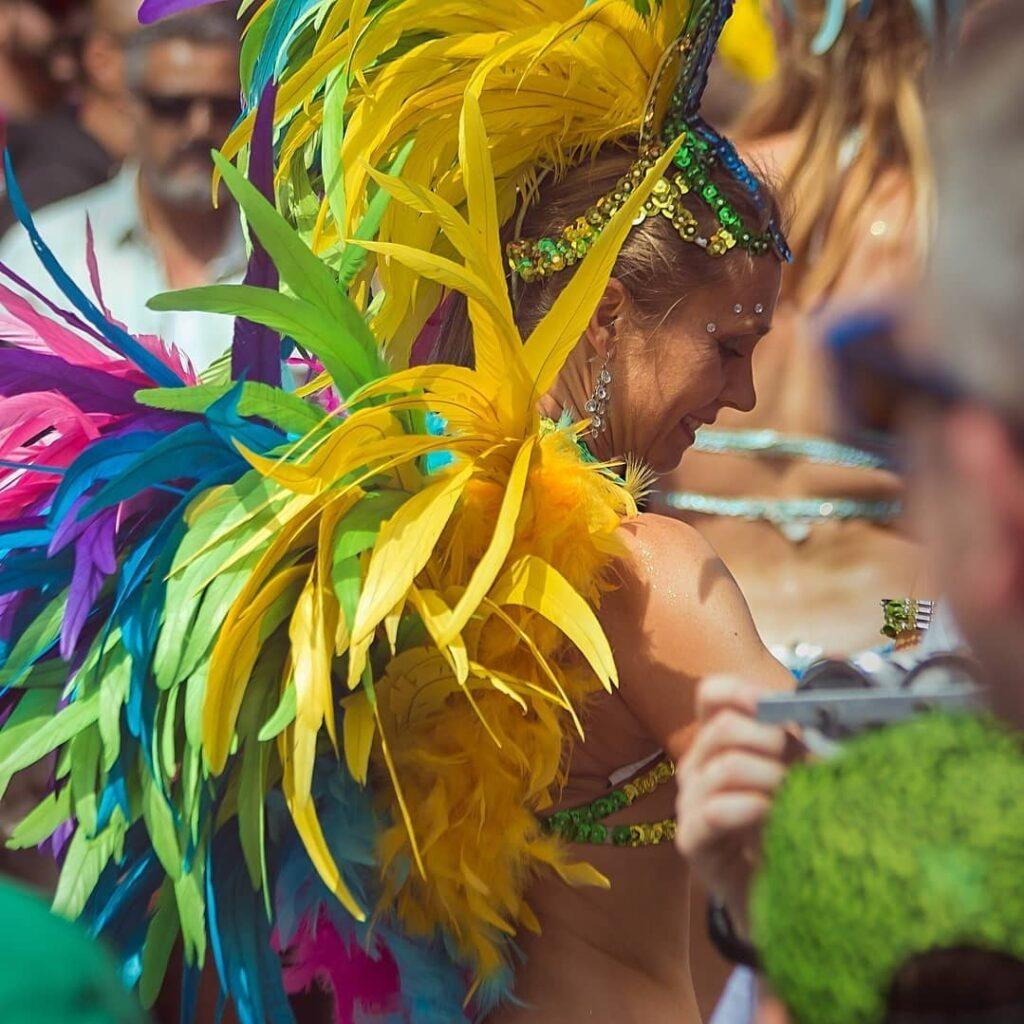colorful costumes at Copenhagen Carnival