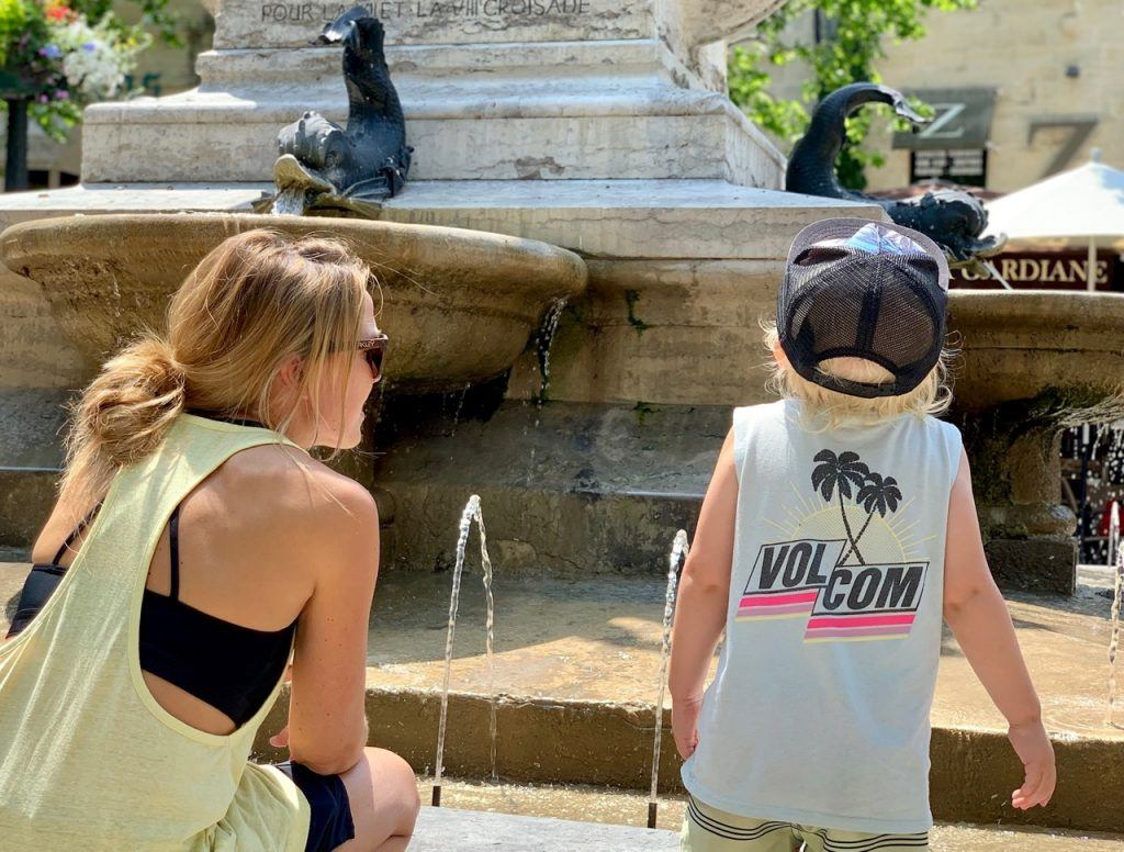 Kat Russell-Cowan and Theo in Aigues-Mortes