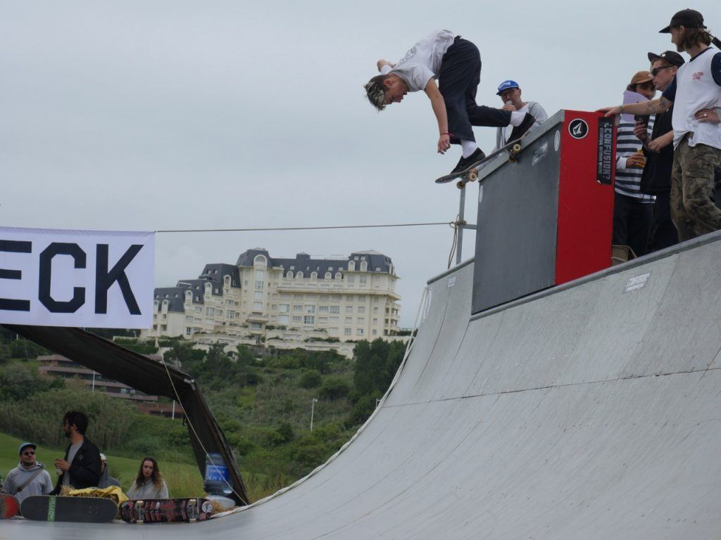 skateboarding at wheels and waves festival