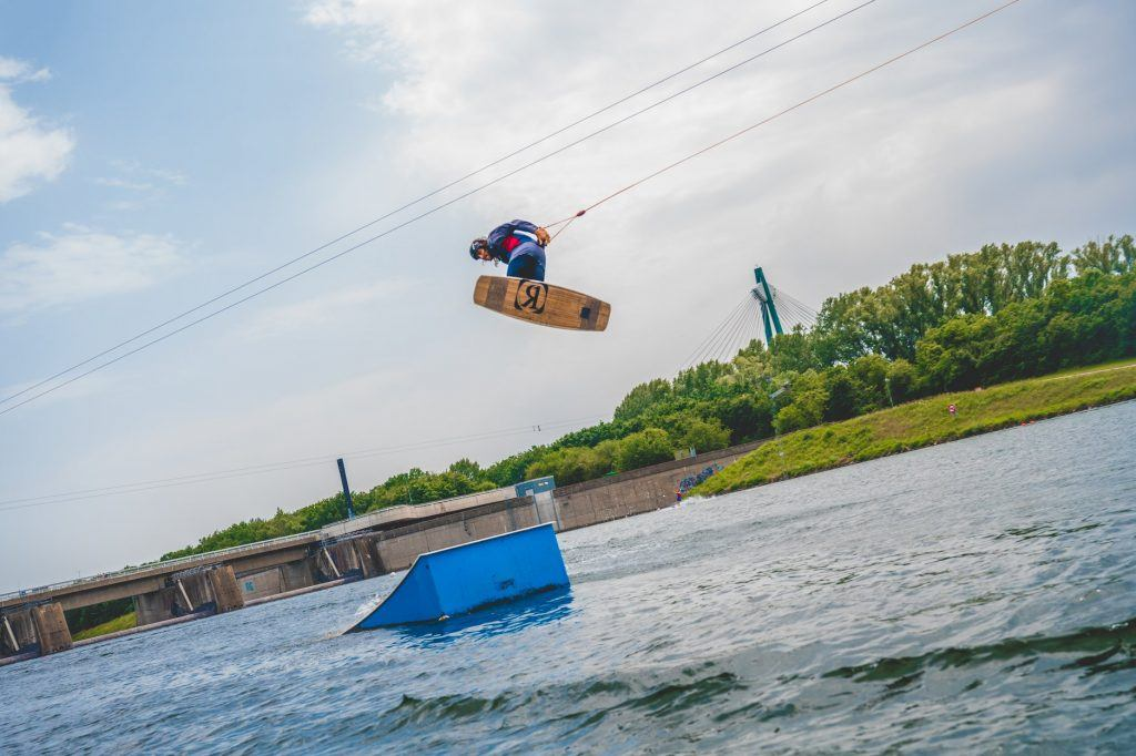Wakeboarding on the river in Vienna