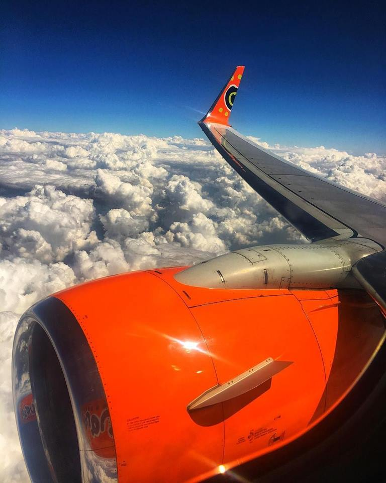 mango airlines plane in the sky