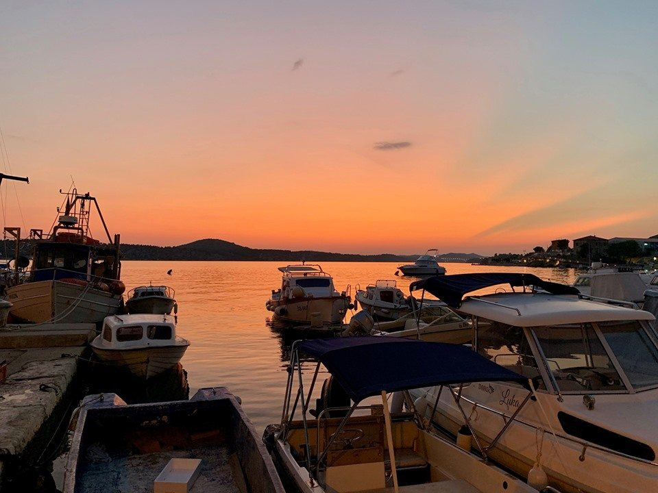 sunset over Sibenik harbour