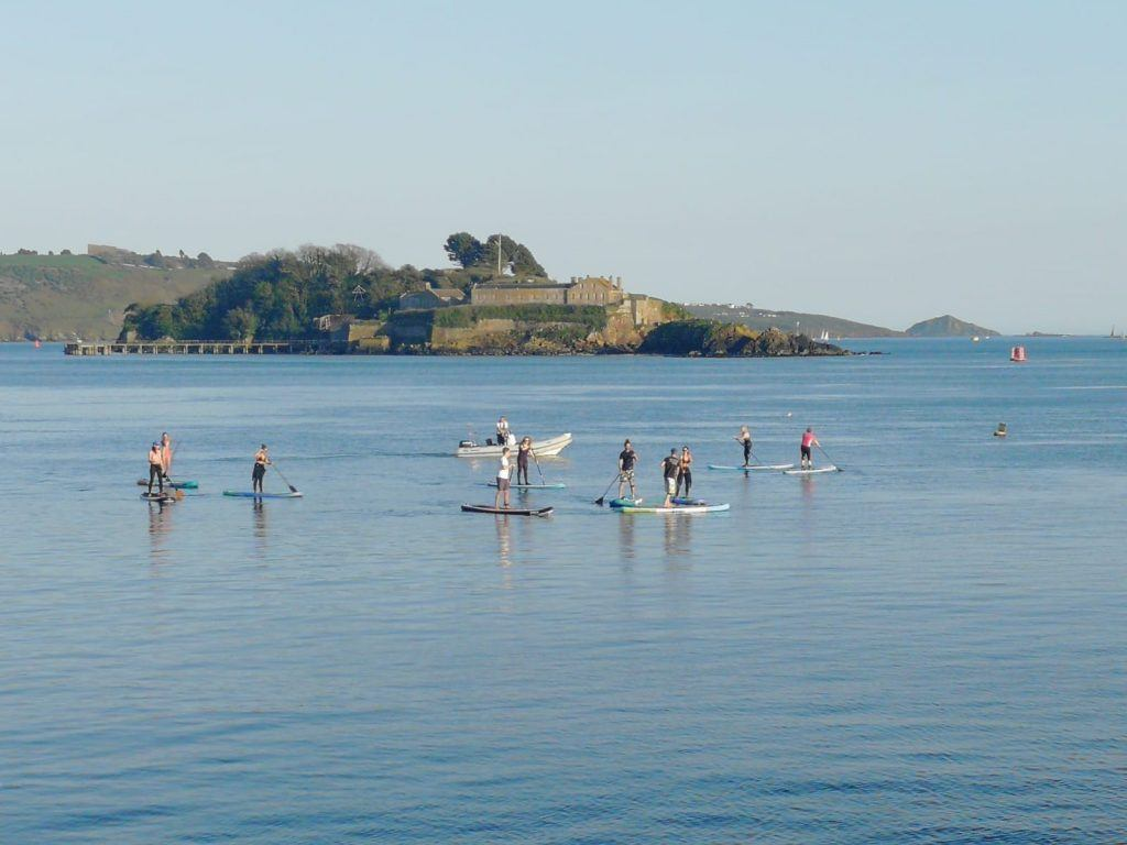 Paddle boarding to Drakes Island, Plymouth
