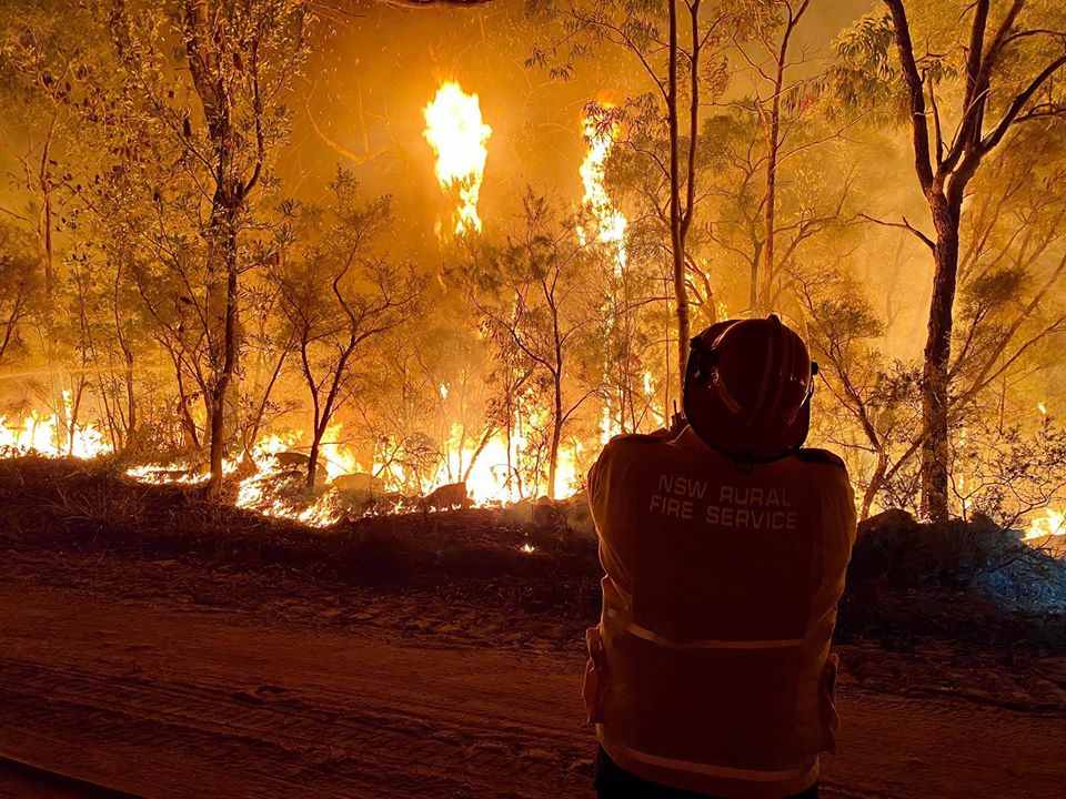 Bushfires in NSW and fire fighter