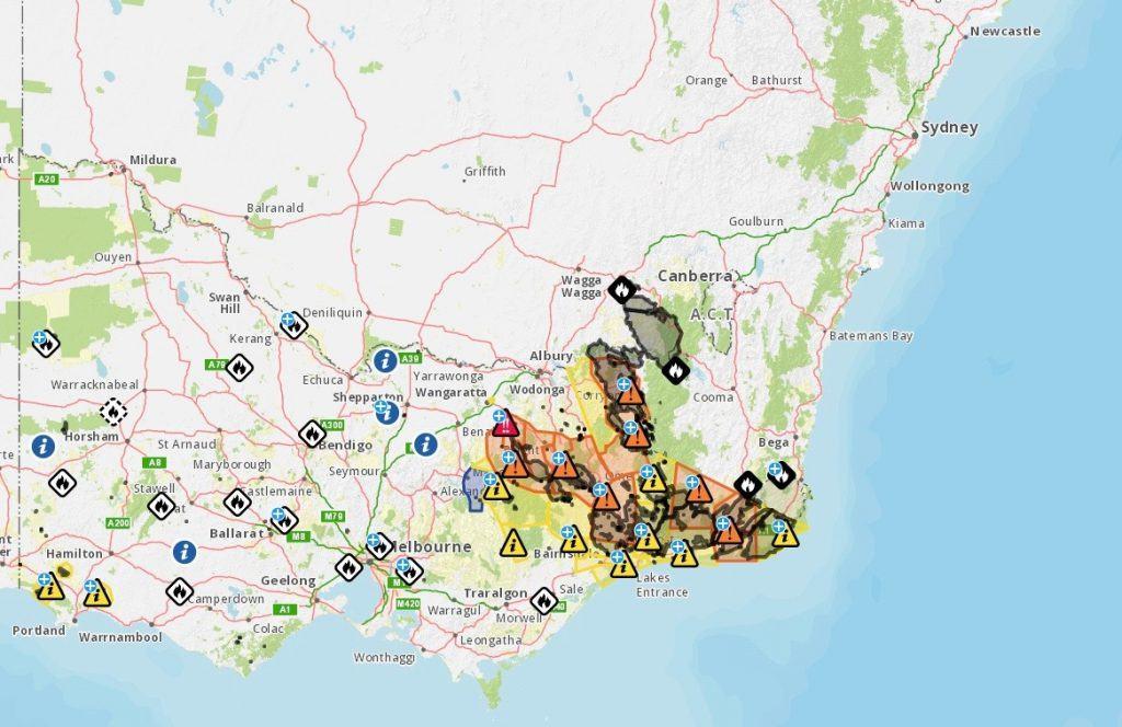 victoria bushfire emergency map