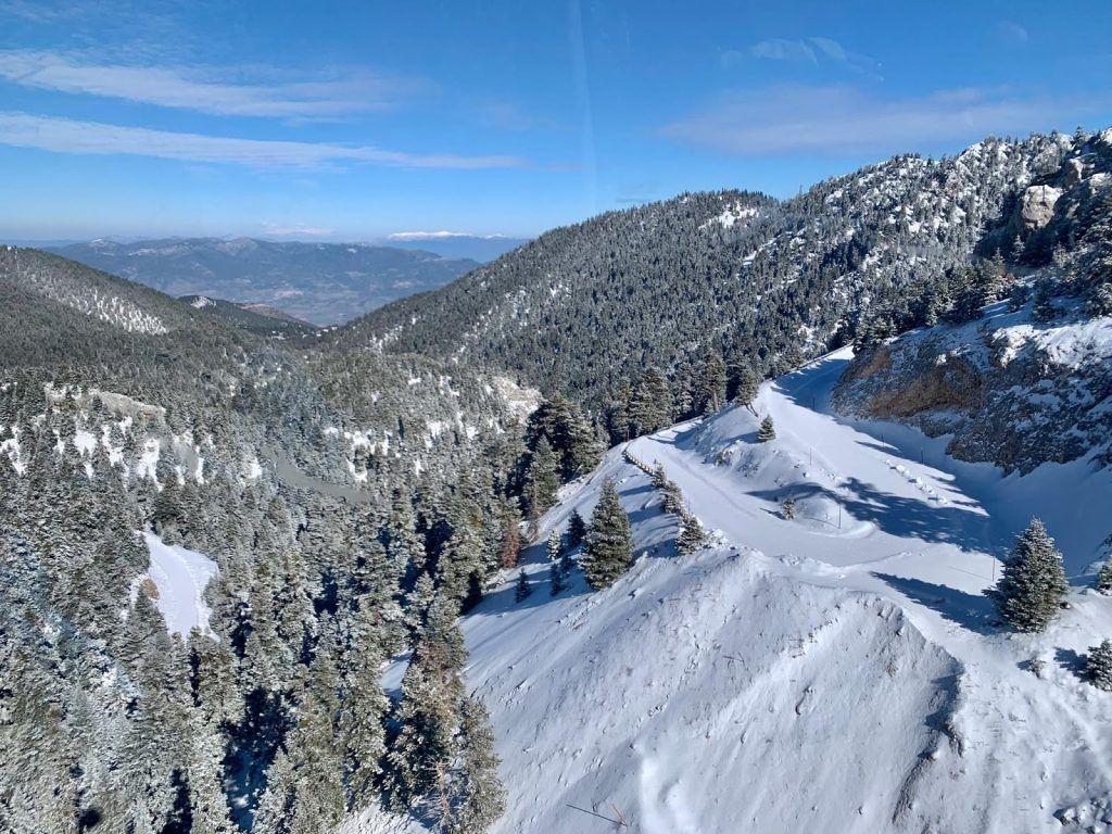 skiing through pine trees in Greece