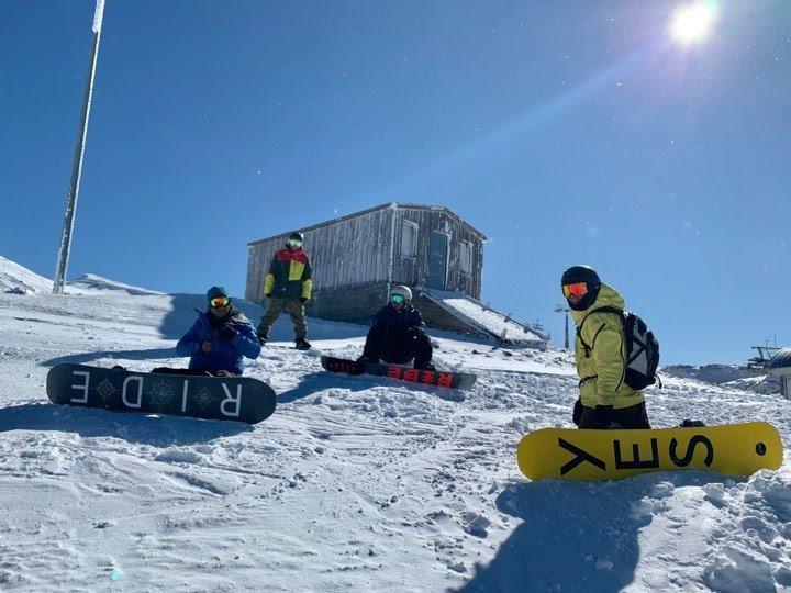 snowboarders in Greece