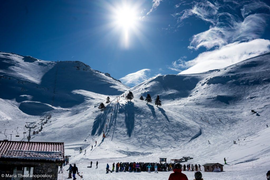 Skiing in the Greek mountains