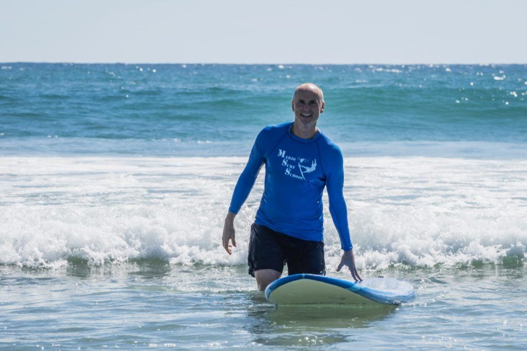 Chip Conley surfing in Mexico