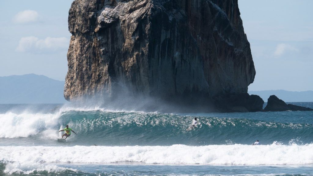 surfing adventures in front of witches rock in costa rica