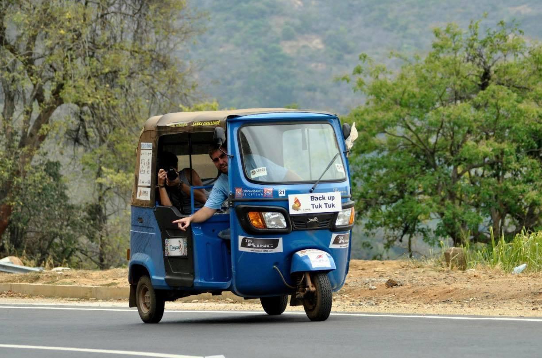 Large Minority Adventure Challenges Julian Carnall co founder in a tuk tuk in Sri Lanka