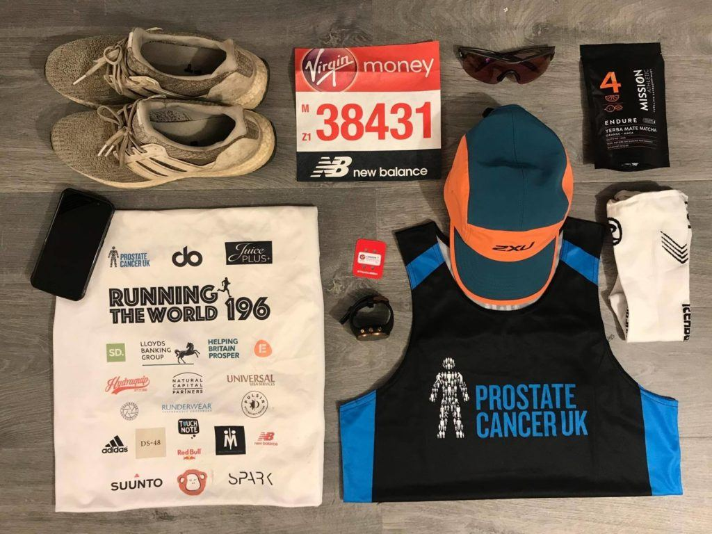 London marathon Nick Butter's gear running for Prostate Cancer