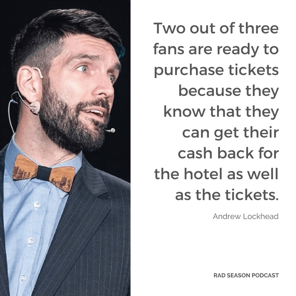 Two out of three fans are ready to purchase tickets because they know that they can get their cash back for the hotel as well as the tickets.