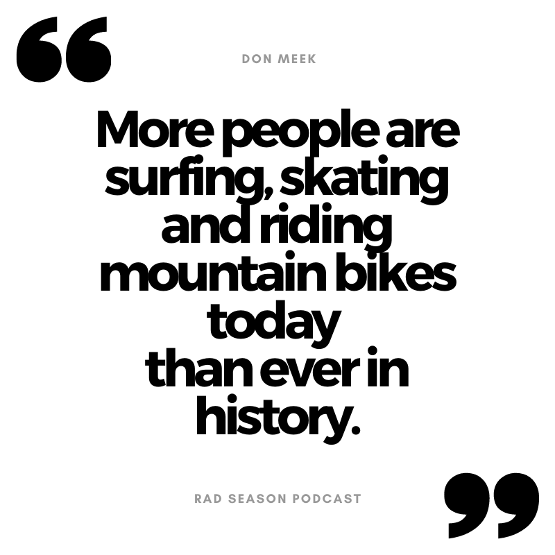More people are surfing, skating and riding mountain bikes today than have ever been doing it in the history of the sports