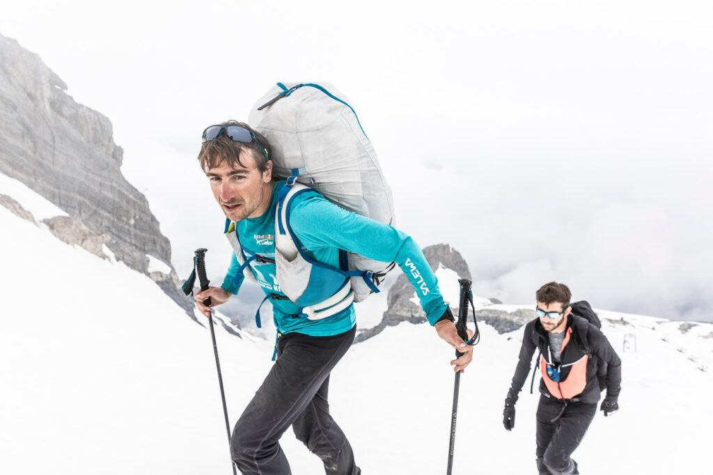 x-alps athletes in the snow