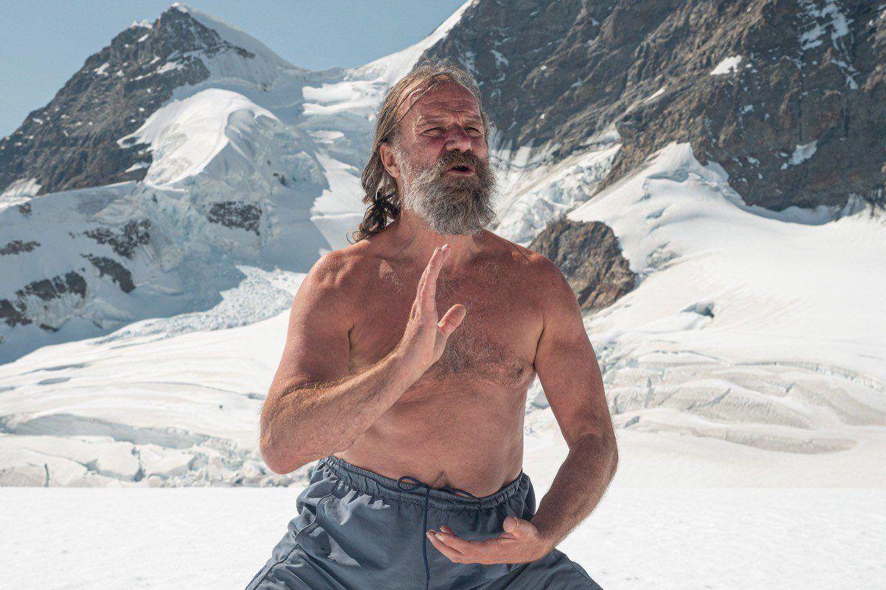 Wim Hof practicing yoga in the snow