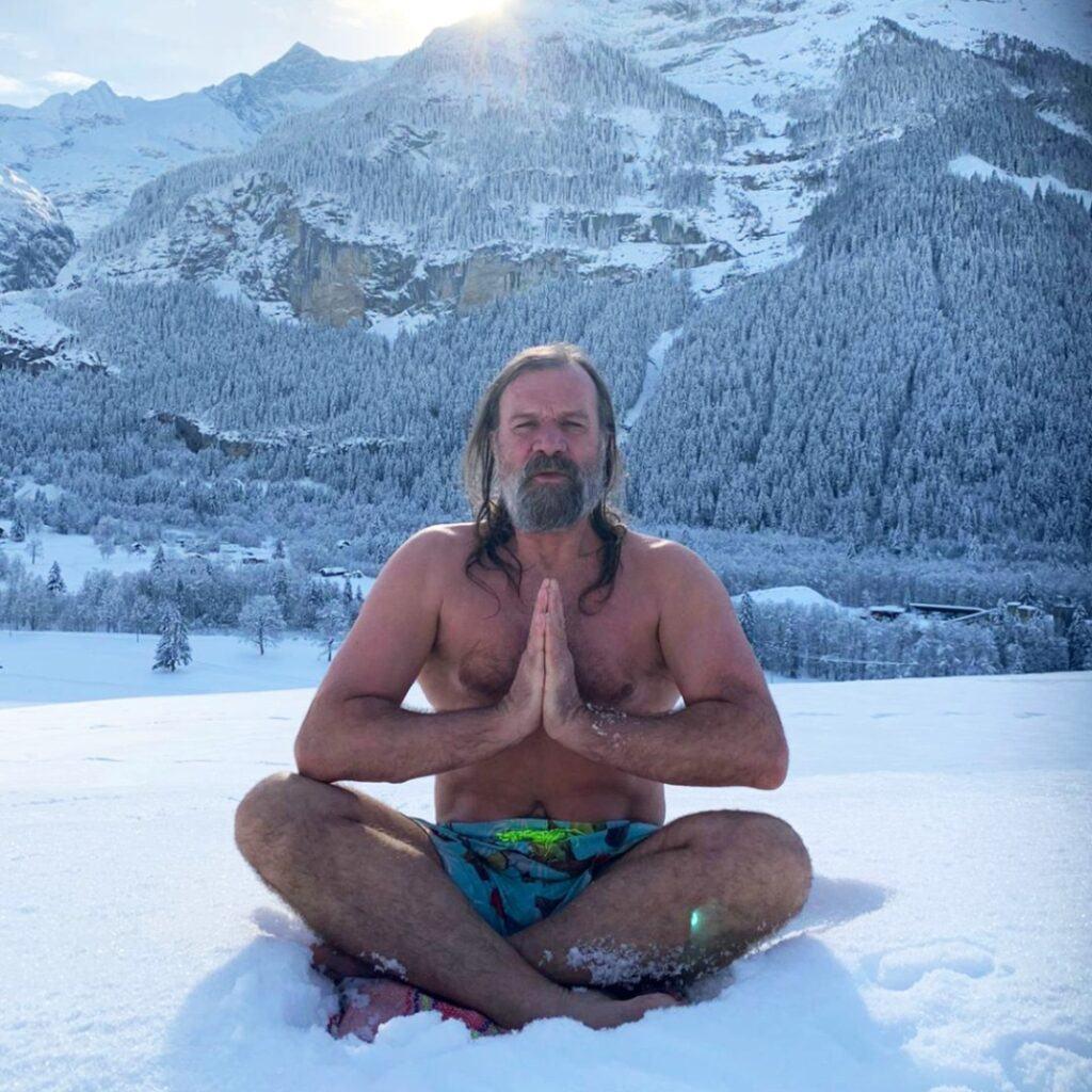 Wim Hof method in the snow