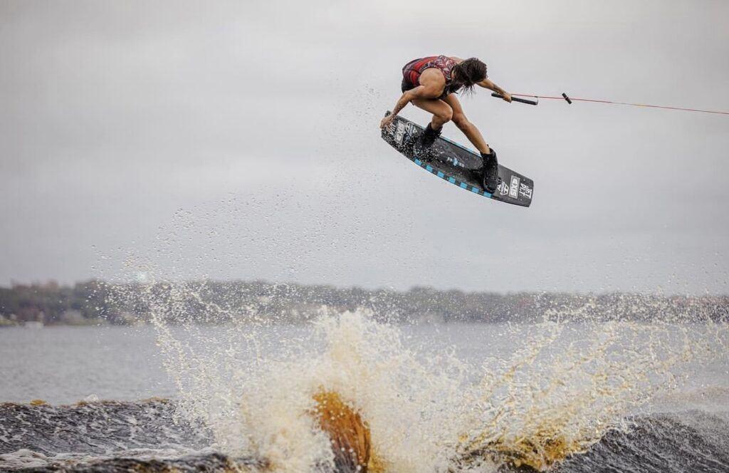 Bec Gange wakeboarding tail grab